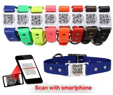 custom personalized dog collars with QR code tag