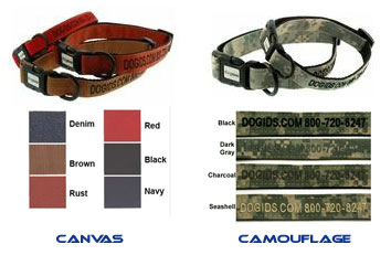 personalized dog collars canvas and camouflage