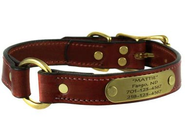 mendota personalized leather dog collar center ring