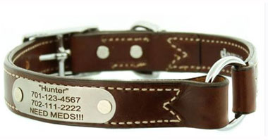 custom leather safety dog collar center ring