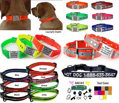 custom reflective collars, dog name collars