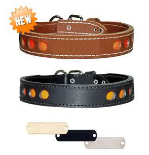 Personalized Reflective Leather Dog Collars