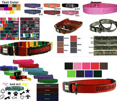 custom embroidered dog collars, dog name collars