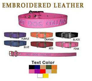 personalized leather dog collars, embroidered