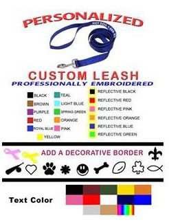 reflective custom embroidered dog leash leashes